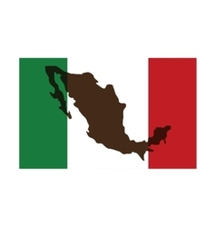 Mexican flag with silhouette icon vector