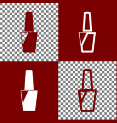 Nail polish sign bordo and white icons vector
