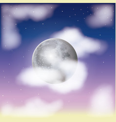 Nightly sky scene background and cloudiness in vector