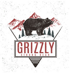 Old retro logo with bear grizzly vector