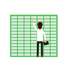 Professional man worker opening banking cell safe vector