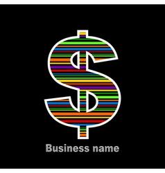 Rainbow dollar vector image vector image