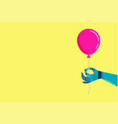 Robotic hand background with a pink balloon vector