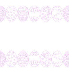 Seamless easter eggs border background doodle vector