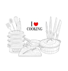 Set of cooking utensils hand drawn realistic vector