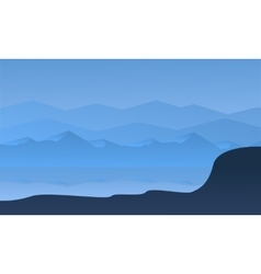 Silhouette of hill and river vector