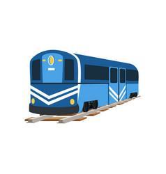 Underground blue train locomotive subway vector