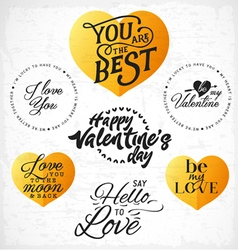 Valentines day typography design elements vector
