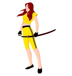 Warrior Girl with Sword vector image vector image