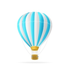 white and blue hot air ballon isolated vector image vector image
