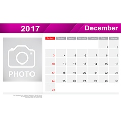 Year 2017 December month simple and clear design vector image