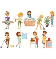 young woman making different domestic works vector image vector image