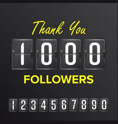 1000 followers thanks design template vector