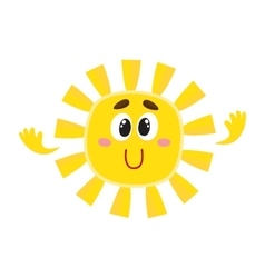 Smiling sun with big eyes isolated cartoon vector