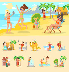 Happy people on vacation concept vector