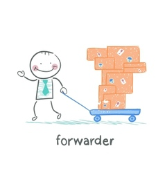forwarder carries a wheelbarrow with boxes of vector image
