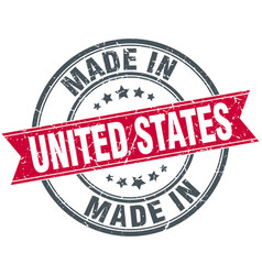 Made in united states red round vintage stamp vector