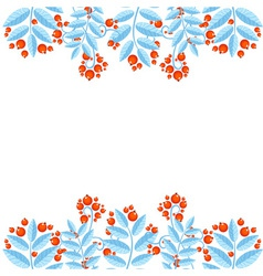 Winter decorative frame with rowan berries vector
