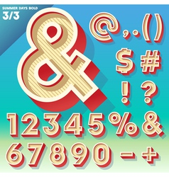 Retro alphabet for summer typography design vector