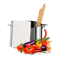 Recipe template cookbook vegetables and casserole vector