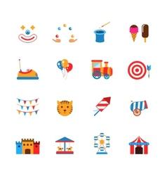 Amusement Park Icons Flat vector image