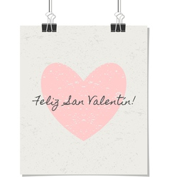 spanish st valentines day poster vintage design vector image