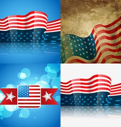 Set of american flag design vector