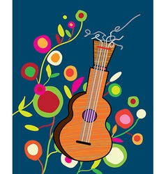 Musical background wtih guitar and flower vector