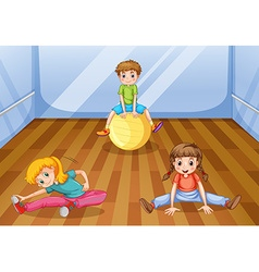 Children exercising in the room vector image