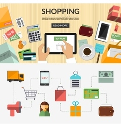 Online shopping flat concept background banner vector