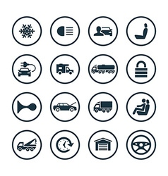 Auto icons universal set vector