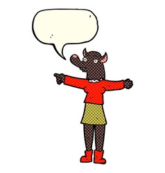 cartoon pointing werewolf woman with speech bubble vector image