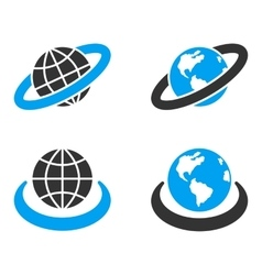 Earth orbit flat bicolor icons vector