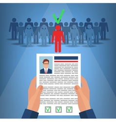 Recruitment for business hands hold cv profile vector