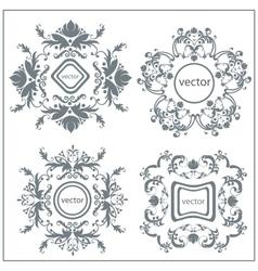 Set decorative floral ornament logo vector