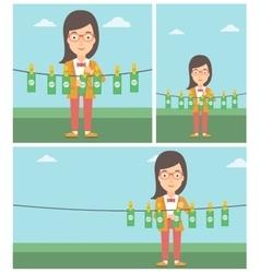 Woman loundering money vector