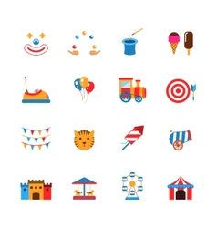 Amusement park icons flat vector