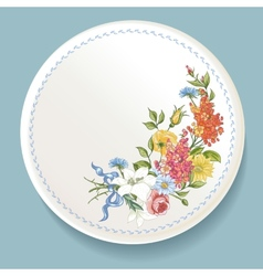 Baroque bouquet of wildflowers on white plate vector