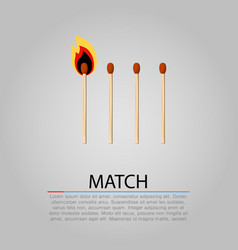 Burning matches on gray background vector