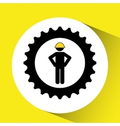 Character man worker construction and gears icon vector