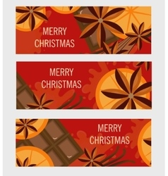 Christmas banner with orange and spices flyer vector