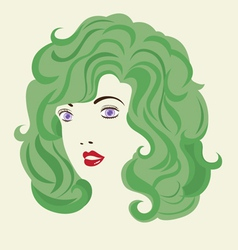 Curly hair woman hair style vector