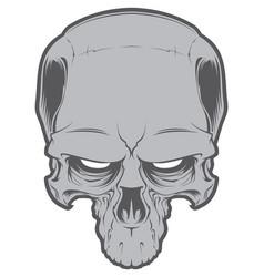 decrepit evil cartoon skull isolated on white vector image
