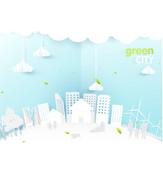 eco city concept people happy in urban city vector image