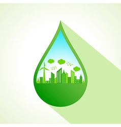 Ecology concept with water drop stock vector image
