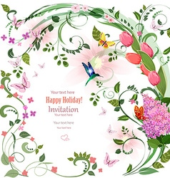elegant invitation card with spring flowers and vector image