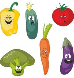 Emotion cartoon vegetables set 011 vector image vector image