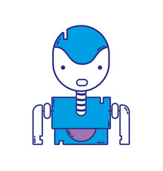 Full color tecnology robot face with chest design vector