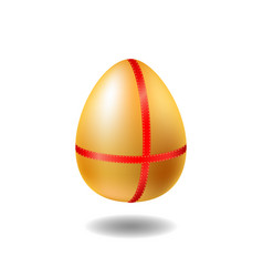 golden egg with red ribbon and shadow chicken egg vector image