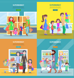 Happy families have shopping in big supermarket vector